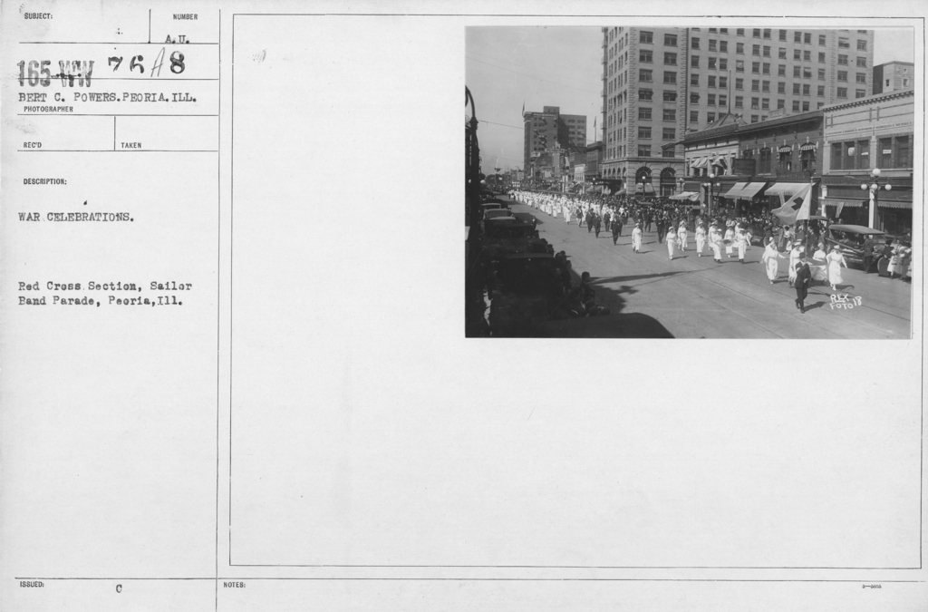 Ceremonies - Illinois - War Celebrations. Red Cross Section, Sailor Band Parade, Peoria, Ill