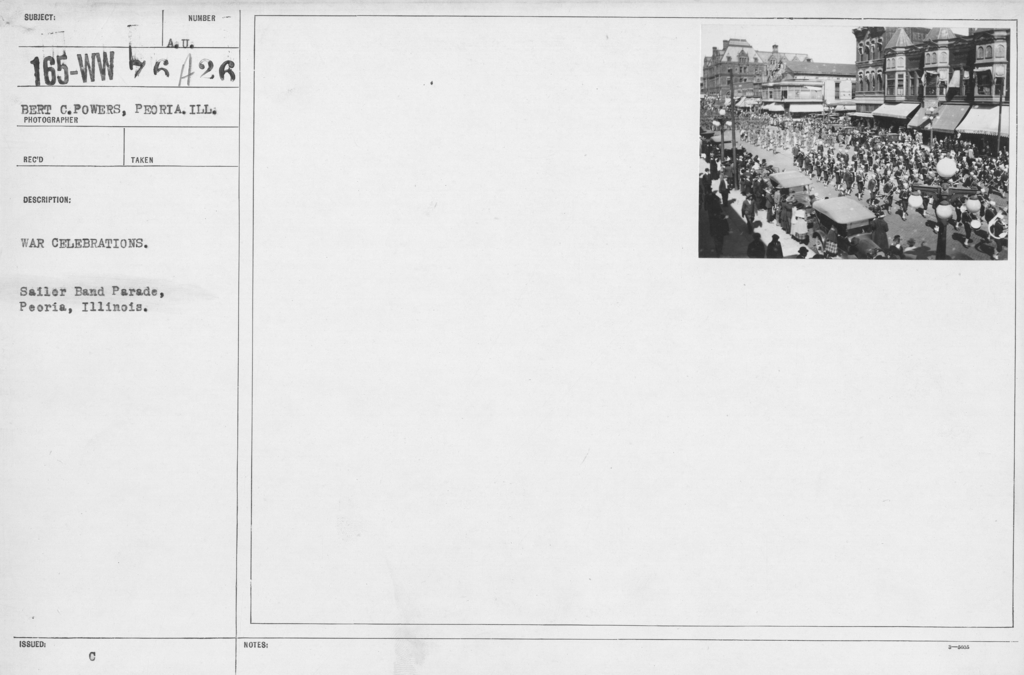 Ceremonies - Illinois - War Celebrations. Sailor Band Parade, Peoria, Ill