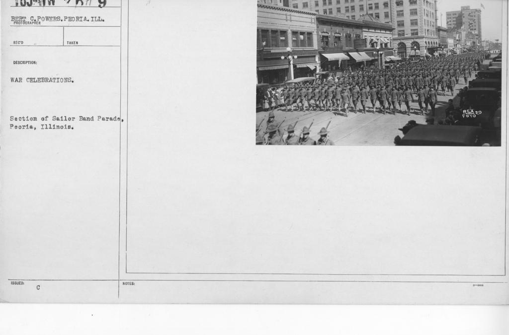 Ceremonies - Illinois - War Celebrations. Section of Sailor Band Parade, Peoria, Illinois