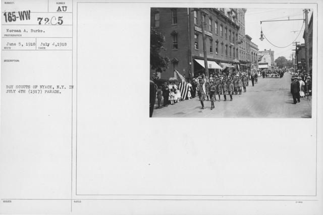 Ceremonies - Independence Day, 1917 - Boy Scouts of Nyack, N.Y. in July 4th (1917) Parade