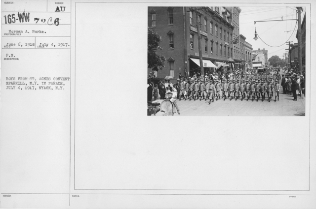 Ceremonies - Independence Day, 1917 - Boys from St. Agnes Convent Sparkill, N.Y. in parade, July 4, 1917, Nyack, N.Y