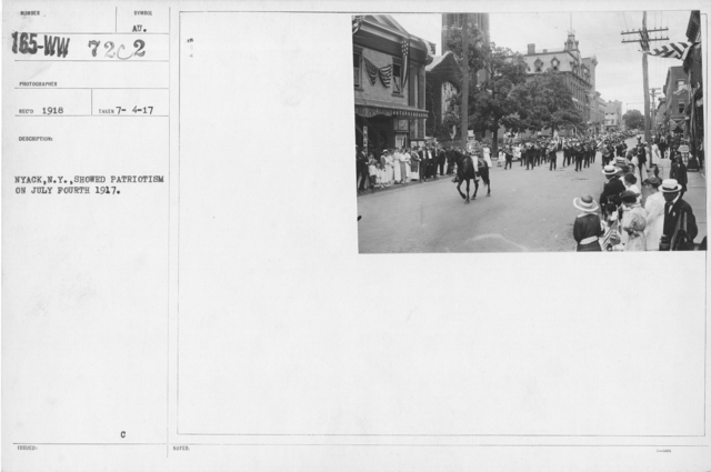Ceremonies - Independence Day, 1917 - The Liberty Float being taken through Nyack, N.Y. streets July 4, (1917) celebration. A contrast to the Peace float used on preceeding year
