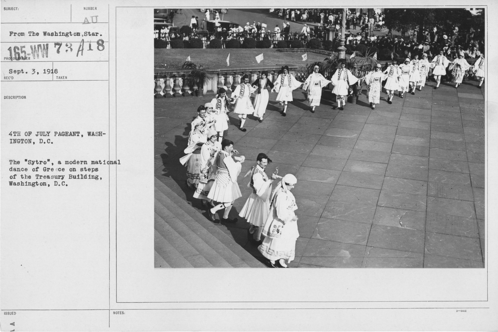 """Ceremonies - Independence Day, 1918 - Amer. Misc. - 4th of July Pageant, Washington, D.C. The """"Sytro"""", a modern national dance of Greece on steps of the Treasury Building, Washington, D.C"""