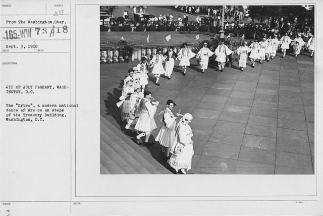 "Ceremonies - Independence Day, 1918 - Amer. Misc. - 4th of July Pageant, Washington, D.C. The ""Sytro"", a modern national dance of Greece on steps of the Treasury Building, Washington, D.C"