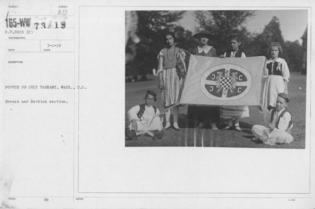 Ceremonies - Independence Day, 1918 - Amer. Misc. - Fourth of July Pageant, Wash., D.C. French and Serbian section
