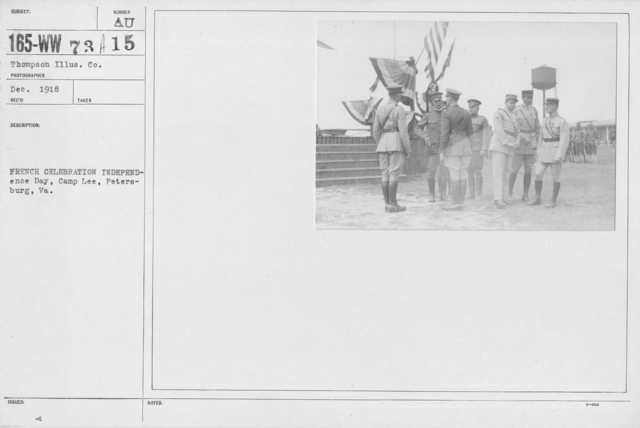 Ceremonies - Independence Day, 1918 - Amer. Misc. - French celebration Independence Day, Camp Lee, Petersburg, VA