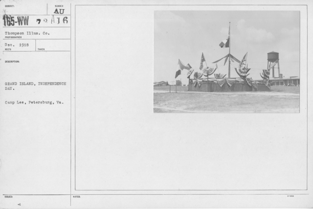 Ceremonies - Independence Day, 1918 - Amer. Misc. - Grand Island, Independence Day. Camp Lee, Petersburg, VA