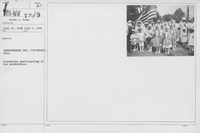 Ceremonies - Independence Day, 1918 - Amer. Misc. - Independence Day, Cincinnati, Ohio. Roumanians participating in the celebration