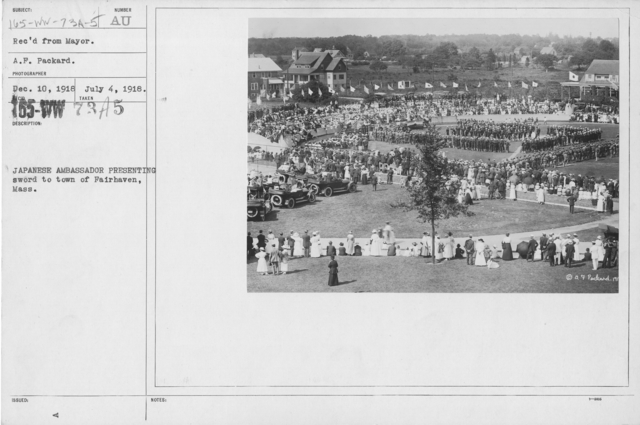Ceremonies - Independence Day, 1918 - Amer. Misc. - Japanese Ambassador presenting sword to town of Fairhaven, Mass