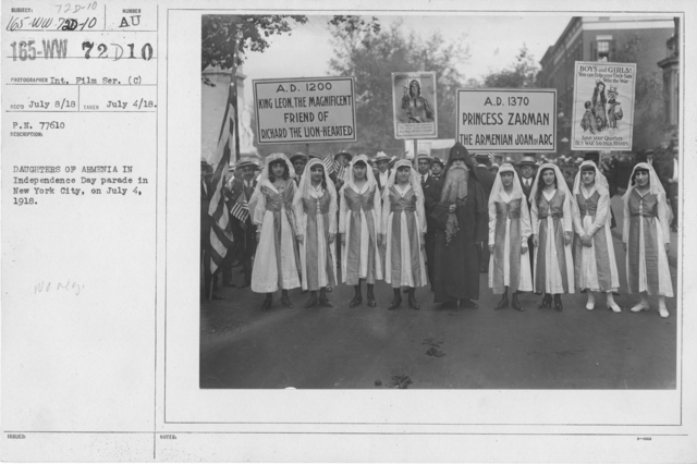 Ceremonies - Independence Day, 1918 - Daughters of Armenia in Independence Day parade in New York City, on July 4, 1918
