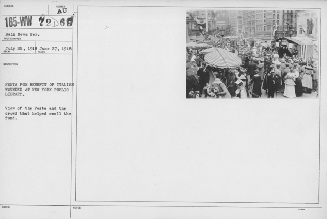 Ceremonies - Independence Day, 1918 - Festa for benefit of Italian wounded at New York Public Library. View of the Festa and the crowd that helped swell the fund