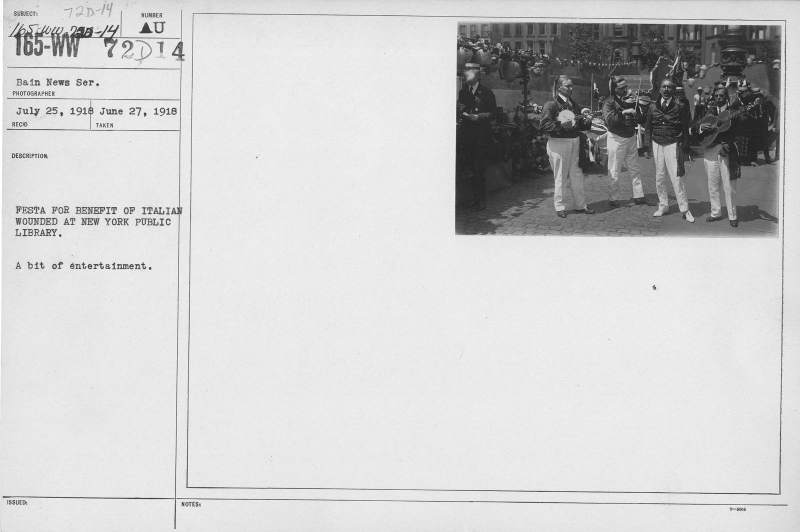 Ceremonies - Independence Day, 1918 - Festa for benefit of Italian wounded at New York Public Library. A bit of entertainment