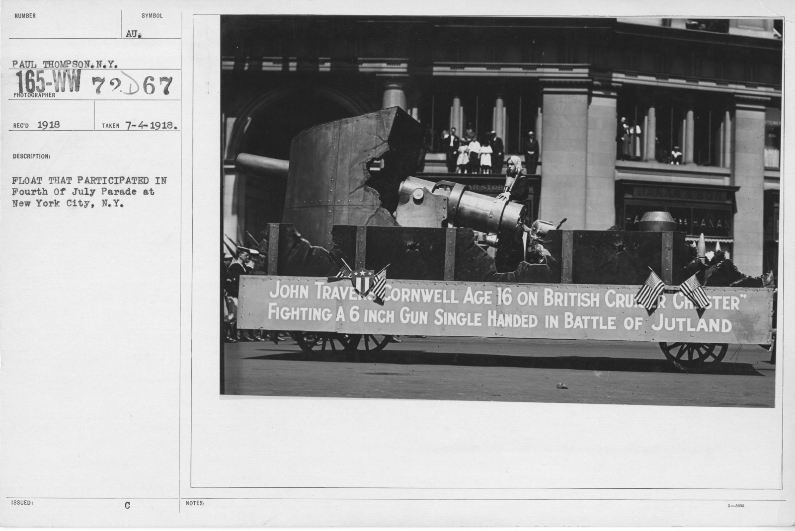 Ceremonies - Independence Day, 1918 - Float that participated in Fourth of July Parade at New York City, N.Y