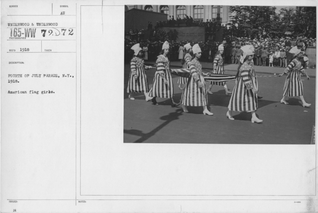 Ceremonies - Independence Day, 1918 - Fourth of July Parade, N.Y., 1918. American flag girls