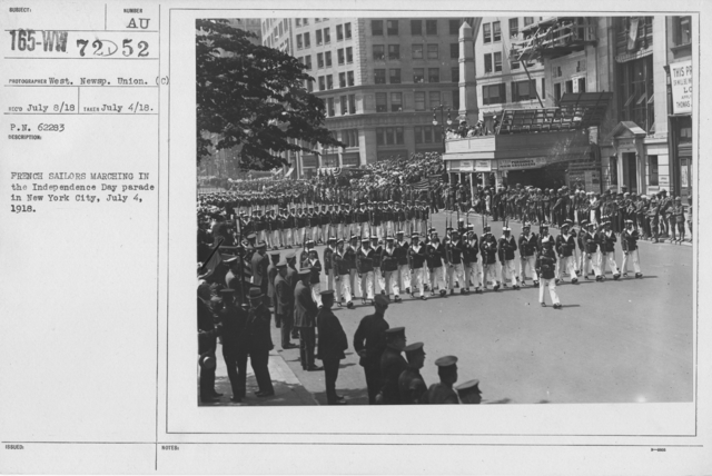 Ceremonies - Independence Day, 1918 - French Sailors marching in the Independence Day parade in New York City, July 4, 1918