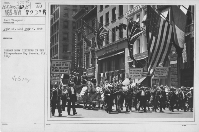 Ceremonies - Independence Day, 1918 - German born citizens in the Independence Day Parade, N.Y. City