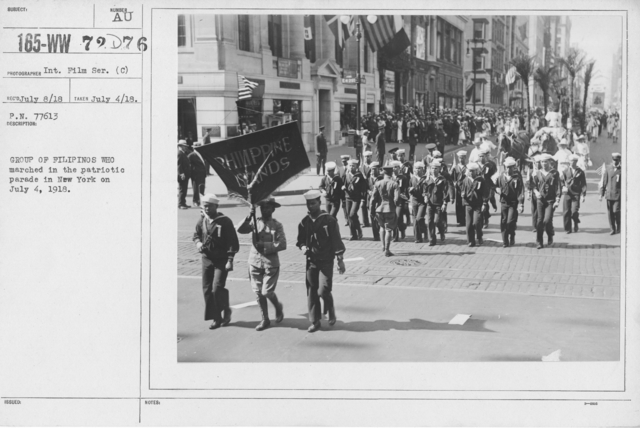 Ceremonies - Independence Day, 1918 - Group of Filipinos who marched in the patriotic parade in New York on July 4, 1918