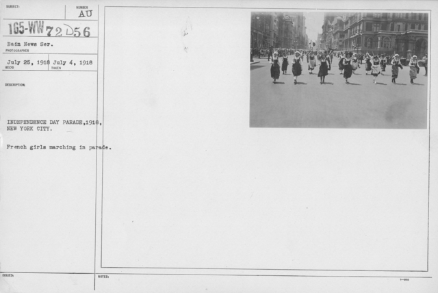 Ceremonies - Independence Day, 1918 - Independence Day Parade, 1918, New York City. French girls marching in parade