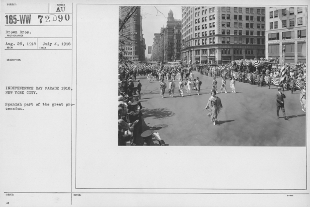 Ceremonies - Independence Day, 1918 - Independence Day Parade 1918, New York City. Spanish part of the great procesion