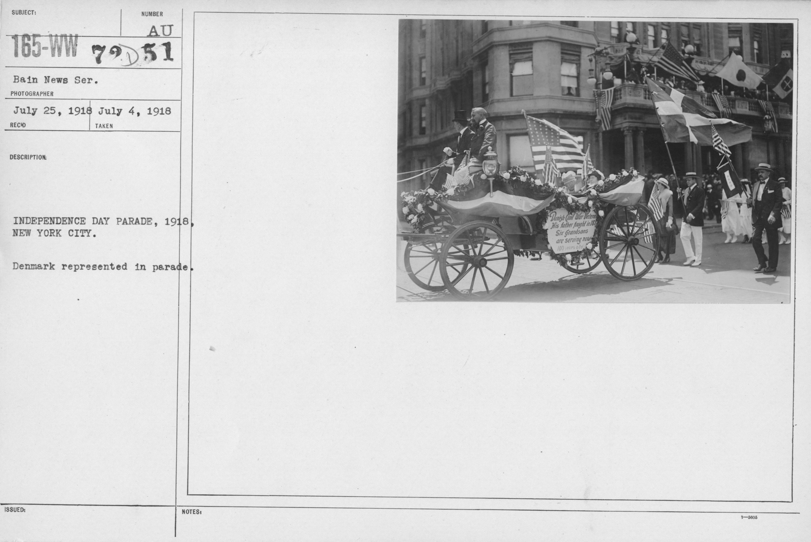 Ceremonies - Independence Day, 1918 - Independence Day Parade, 1918, New York City. Denmark represented in parade