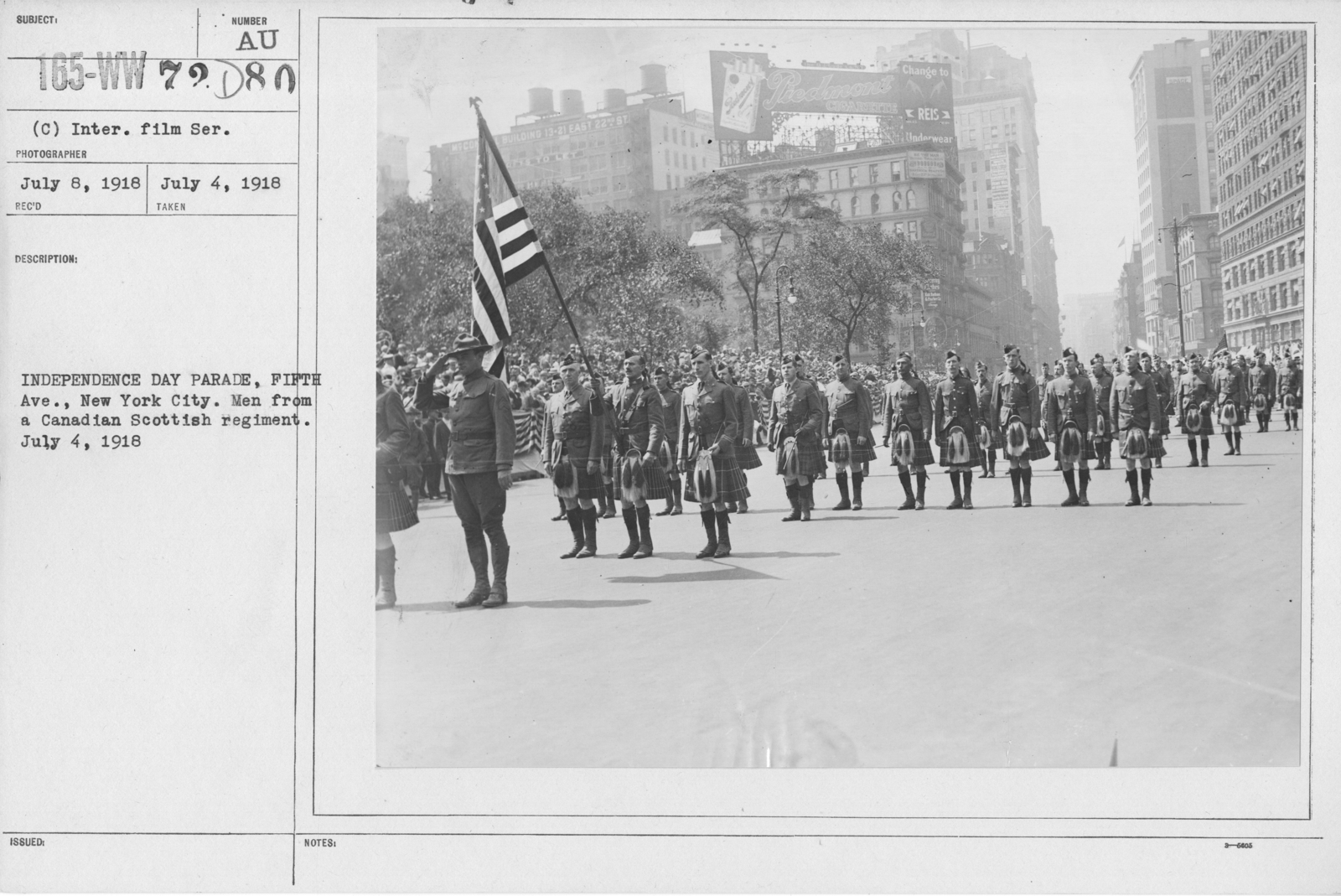 Ceremonies - Independence Day, 1918 - Independence Day Parade, Fifth Ave., New York City. Men from a Canadian Scottish regiment. July 4, 1918