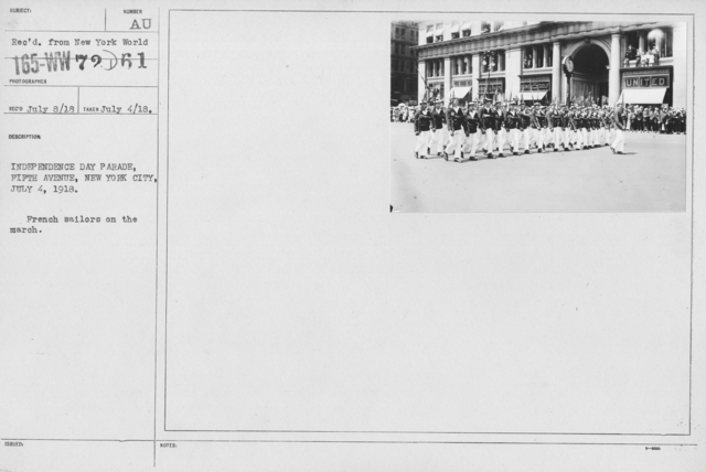 Ceremonies - Independence Day, 1918 - Independence Day Parade, Fifth Avenue, New York City, July 4, 1918. French sailros on march