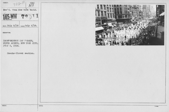 Ceremonies - Independence Day, 1918 - Independence Day Parade. Fifth Avenue, New York City. July 4, 1918. Czecho-Slovak section