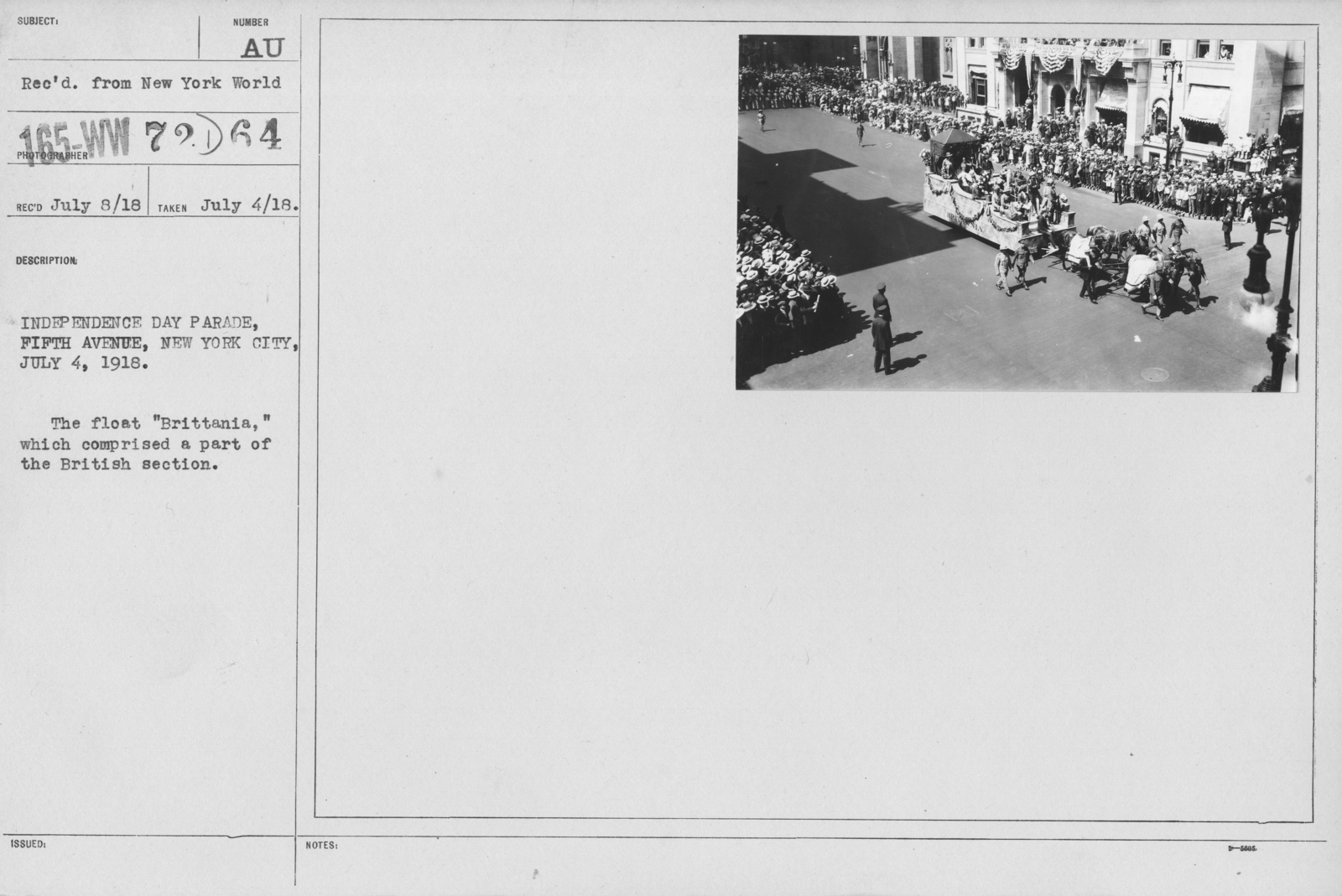"""Ceremonies - Independence Day, 1918 - Independence Day Parade, Fifth Avenue, New York City, July 4, 1918. The float """"Brittania,"""" which comprised a part of the British section"""