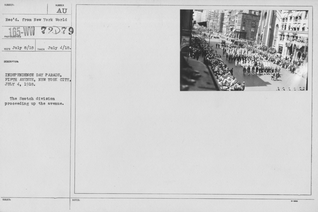 Ceremonies - Independence Day, 1918 - Independence Day Parade, Fifth Avenue, New York City, July 4, 1918. The Scotch division proceeding up the avenue