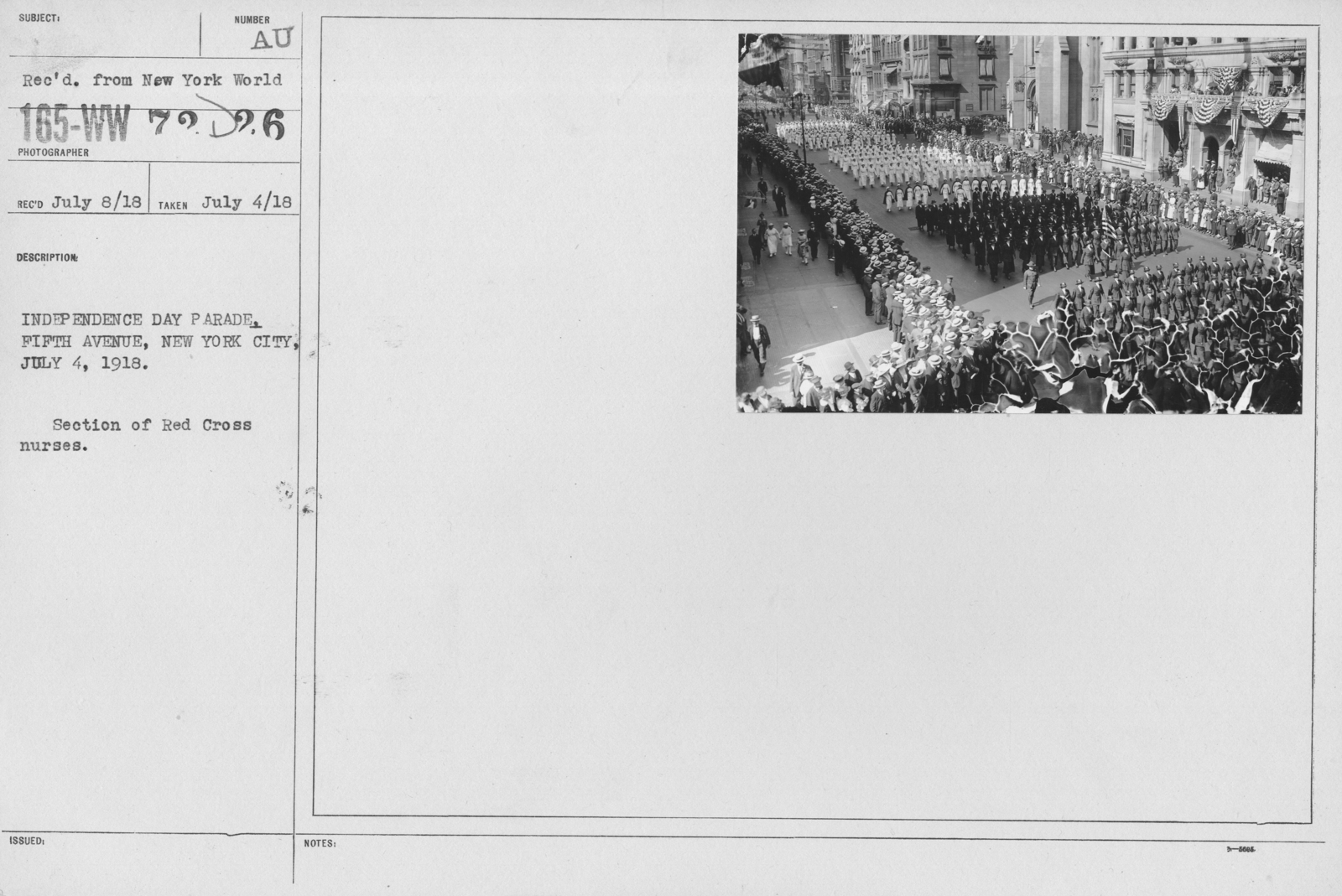 Ceremonies - Independence Day, 1918 - Independence Day Parade. Fifth Avenue, New York City, July 4, 1918. Section of Red Cross nurses