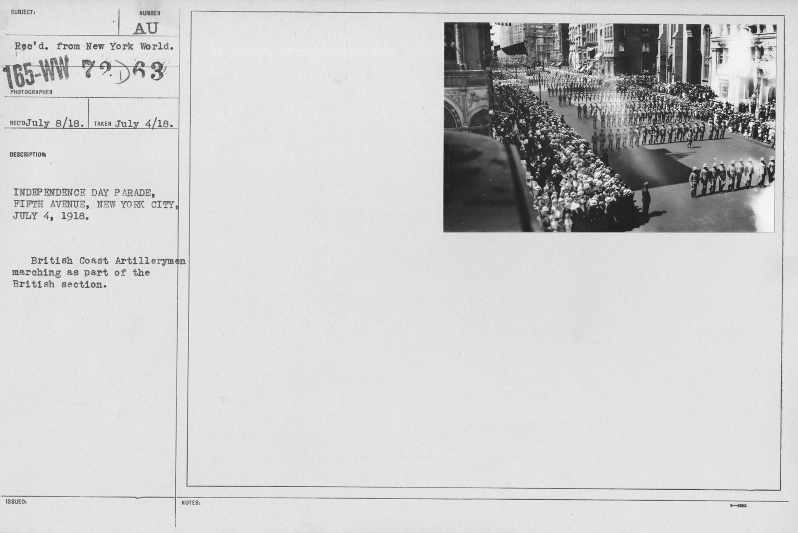 Ceremonies - Independence Day, 1918 - Independence Day Parade, Fifth Avenue, New York City, July 4, 1918. British Coast Artillerymen marching as part of the British section