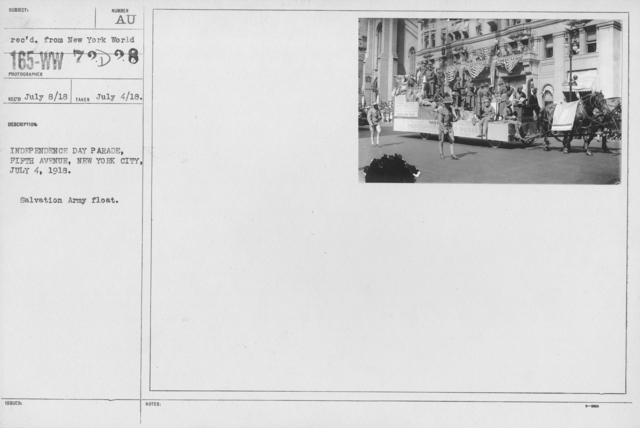 Ceremonies - Independence Day, 1918 - Indpendence Day Parade, Fifth Avenue, New York City, July 4, 1918. Salvation Army Float