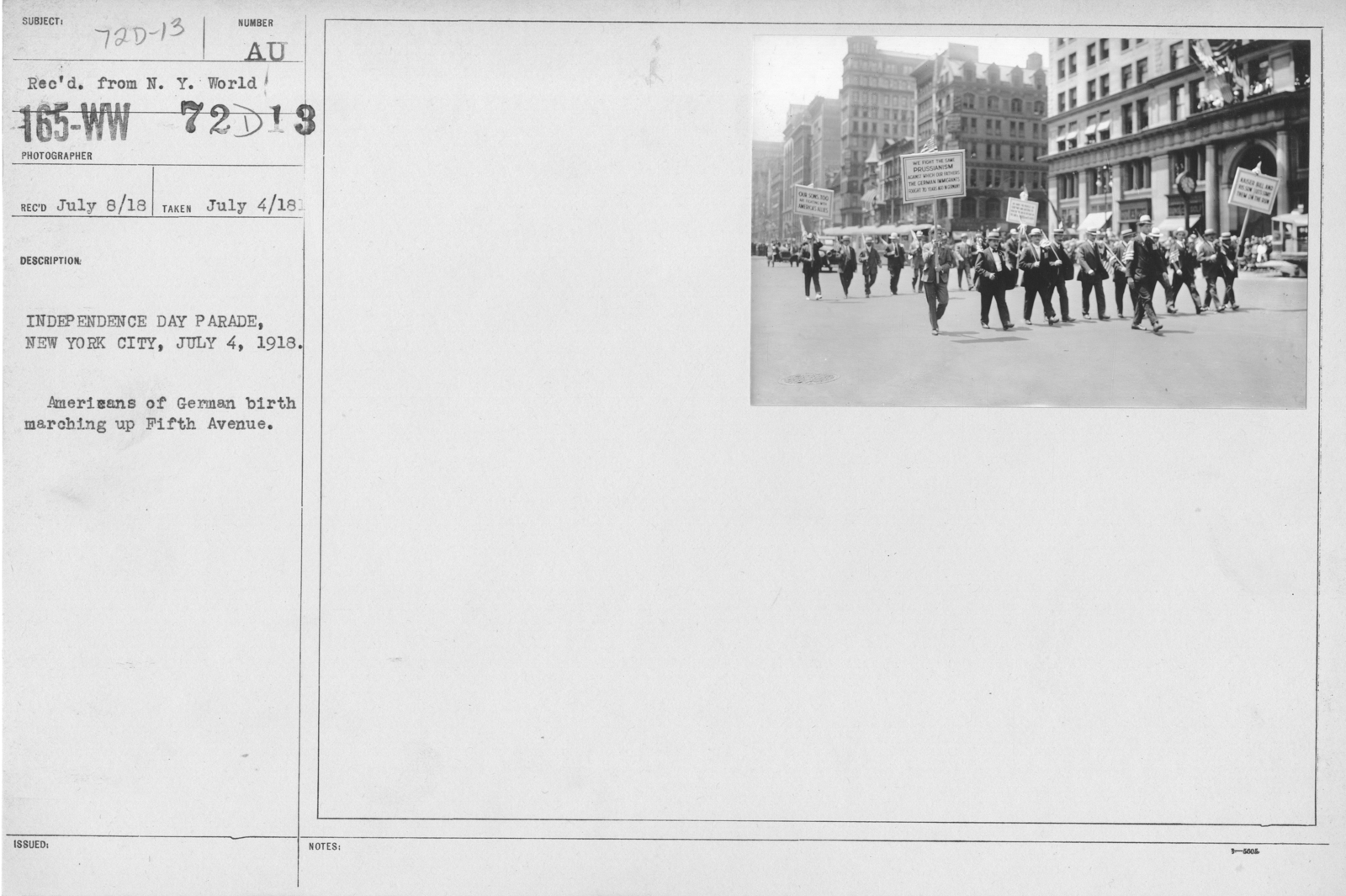 Ceremonies - Independence Day, 1918 - Indpendence Day Parade, New York City, July 4, 1918. Americans of German birth marching up Fifth Avenue