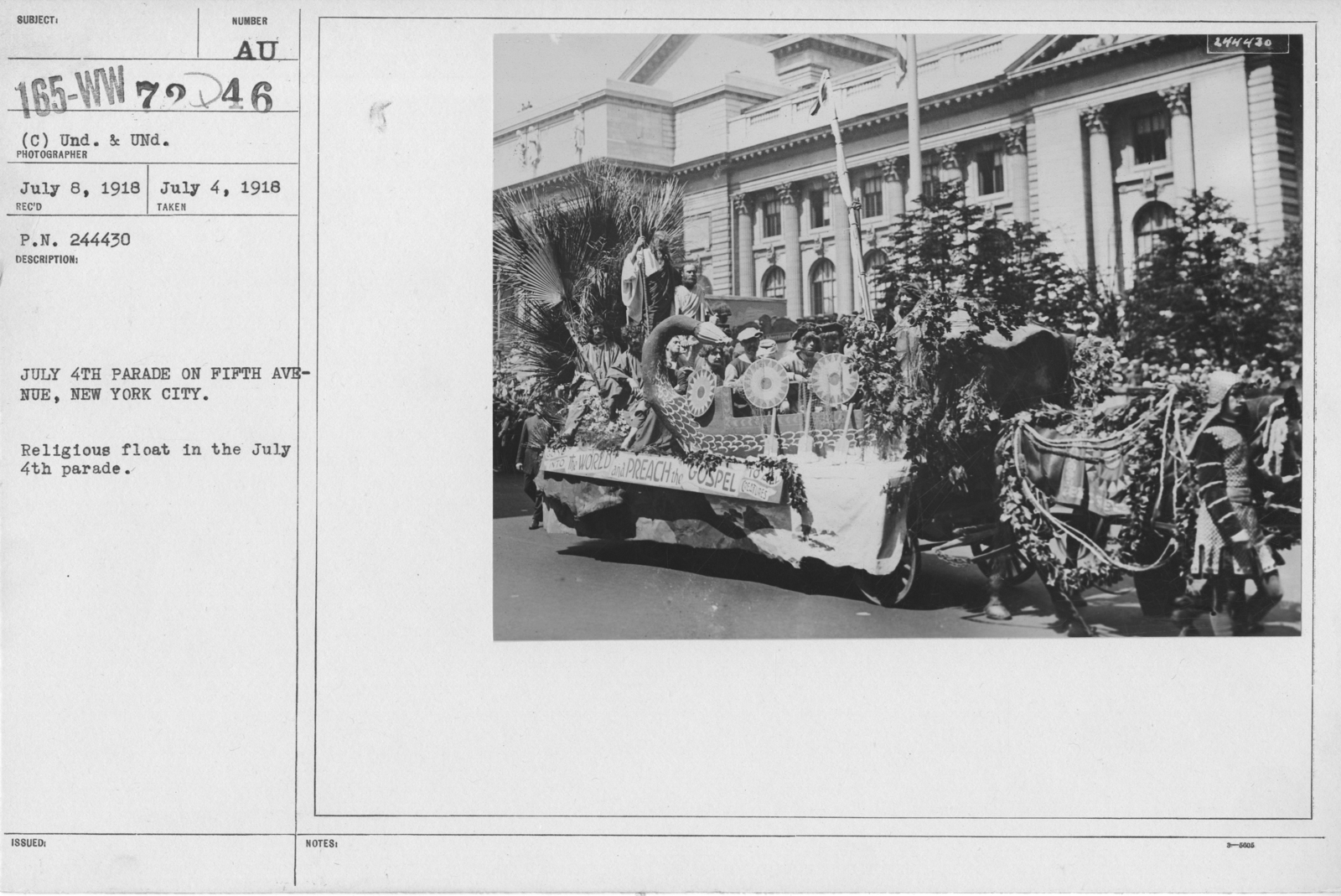 Ceremonies - Independence Day, 1918 - July 4th Parade on Fifth Avenue, New York City. Religious float in the July 4th parade