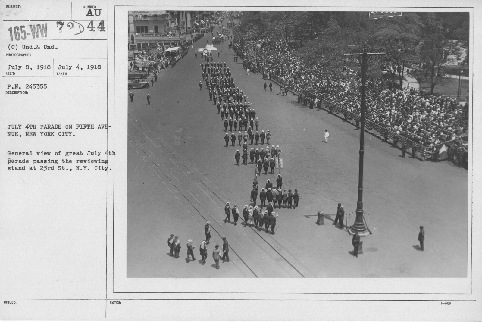 Ceremonies - Independence Day, 1918 - July 4th Parade on Fifth Avenue, New York City. General view of great July 4th parade passing the reviewing stand at 23rd St., N.Y. City