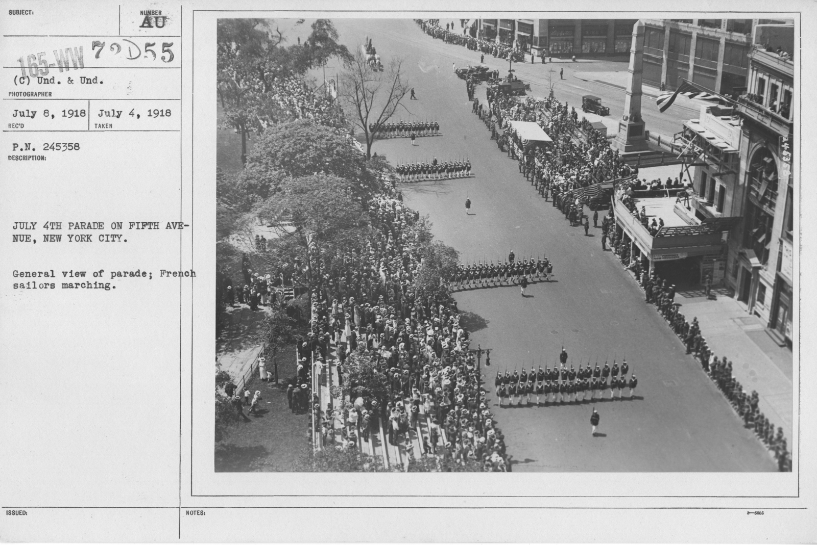 Ceremonies - Independence Day, 1918 - July 4th Parade on Fifth Avenue, New York City. General view of parade; French sailors marching
