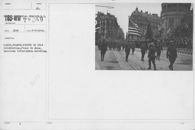 Ceremonies - Independence Day, 1918 - Paris, France. Fourth of July Celebration, Place de Jens, American Infantrymen marching