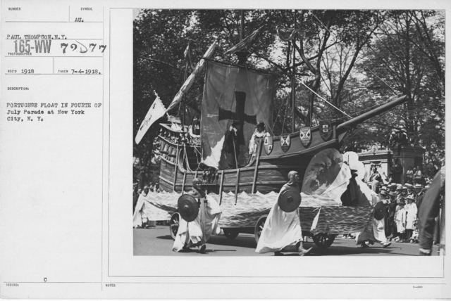 Ceremonies - Independence Day, 1918 - Portugese Float in Fourth of July Parade at New  York City, N.Y