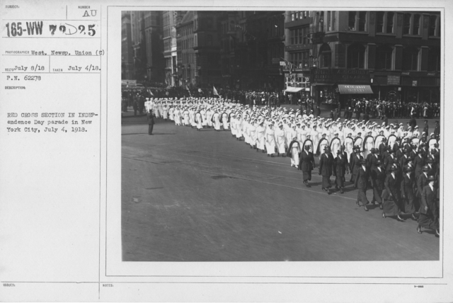 Ceremonies - Independence Day, 1918 - Red Cross section in Independence Day parade in New York City, July 4, 1918