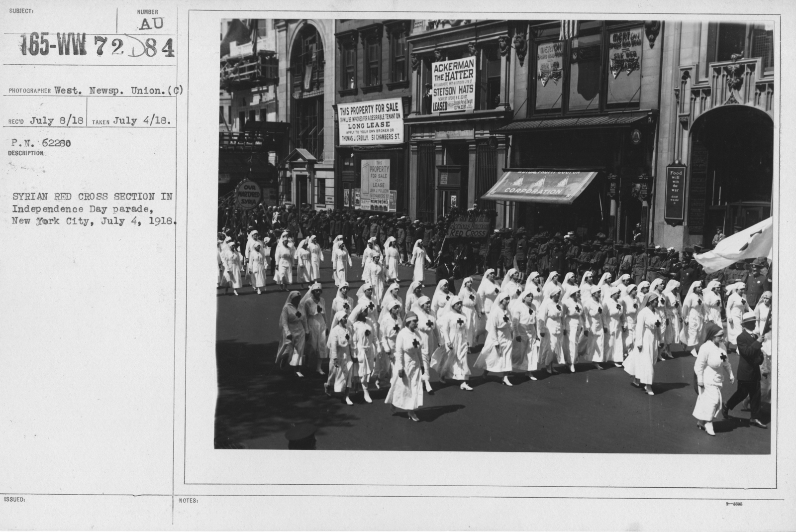Ceremonies - Independence Day, 1918 - Syrian Red Cross section in Independence Day parade, New York City, July 4, 1918