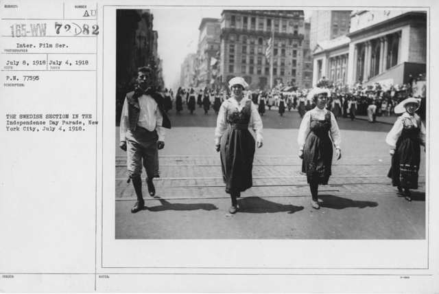 Ceremonies - Independence Day, 1918 - The Swedish Section in the Independence Day Parade, New York City, july 4, 1918