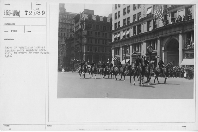 Ceremonies - Independence Day, 1918 - Troop of Venezualan lancers leading South American Divs., N.Y., in Fourth of July Parade, 1918