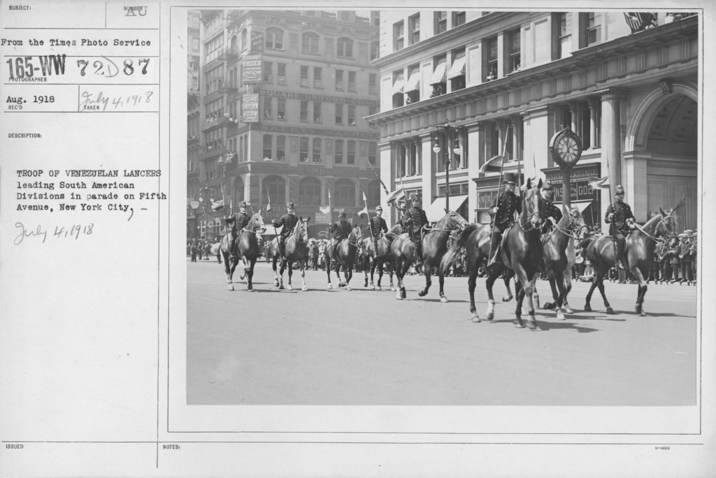 Ceremonies - Independence Day, 1918 - Troop of Venezuelan Lancers leading South American Divisions in parade on Fifth Avenue, New York City