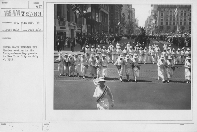 Ceremonies - Independence Day, 1918 - Young women heading the Syrian section in the Independence Day parade in New York City on July 4, 1918