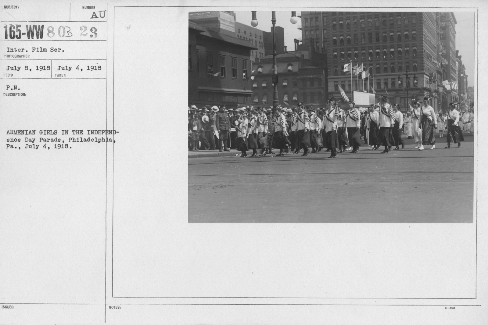 Ceremonies - Independence Day Parades (All States) - Aermenian girls in the Independence Day Parade, Philadelphia, PA., July 4, 1918