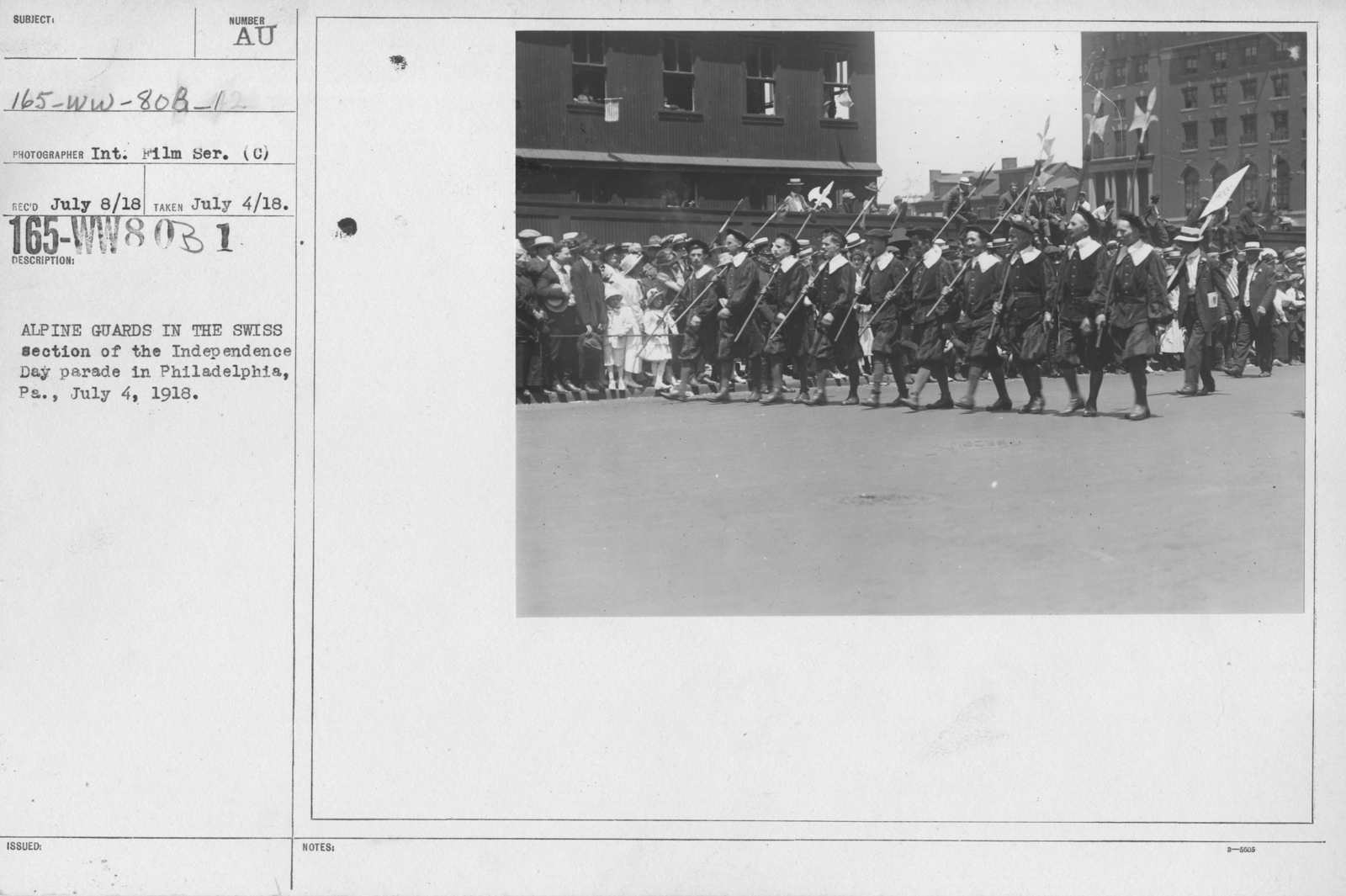 Ceremonies - Independence Day Parades (All States) - Alpine Guards in the Swiss section of the Independence Day parade in Philadelphia, PA., July 4, 1918