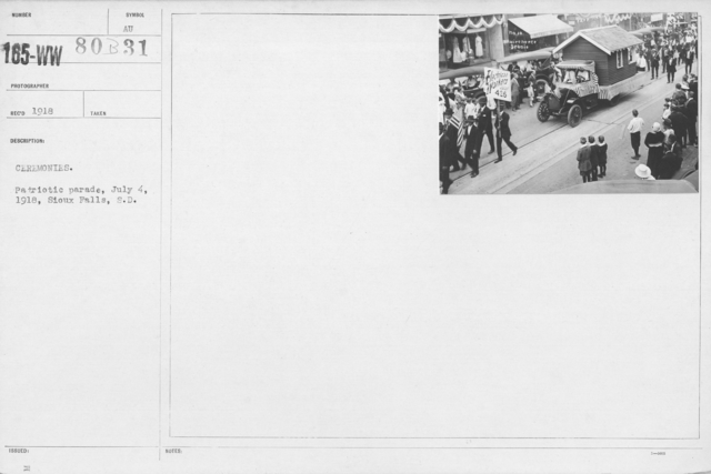 Ceremonies - Independence Day Parades (All States) - Ceremonies. Patriotic parade, July 4, 1918, Sioux Falls, S.D