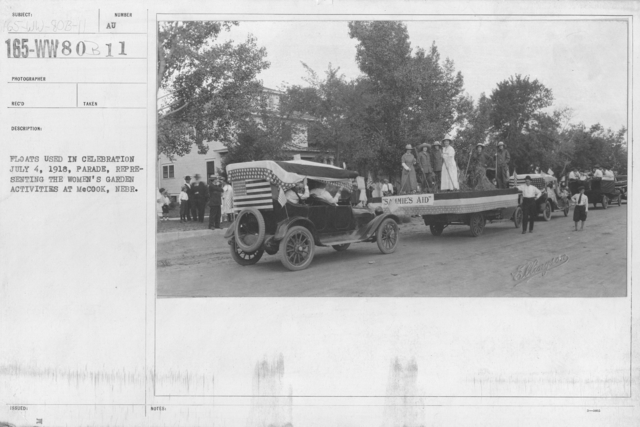 Ceremonies - Independence Day Parades (All States) - Floats used in celebration July 4, 1918, parade, representing the women's garden activities at McCook, Nebr