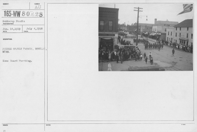 Ceremonies - Independence Day Parades (All States) - Fourth of July Parade, Bemidji, Minn. Home Guard Marching