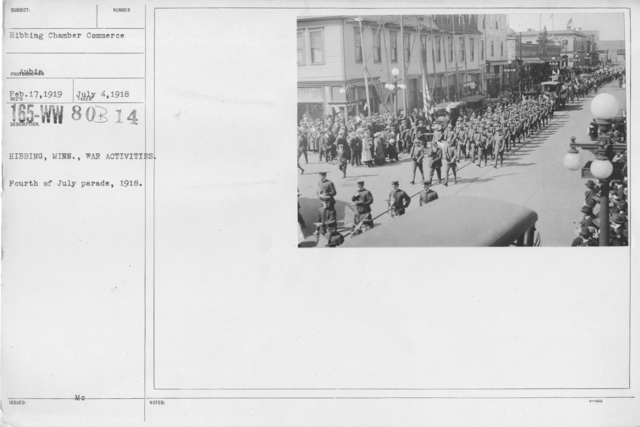Ceremonies - Independence Day Parades (All States) - Hibbing, Minn., War Activities. Fourth of July parade, 1918